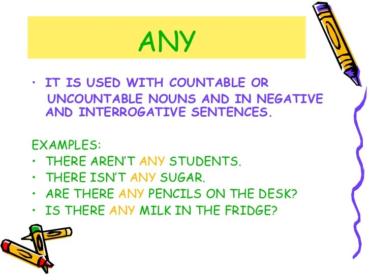 ANY <ul><li>IT IS USED WITH COUNTABLE OR </li></ul><ul><li>UNCOUNTABLE NOUNS AND IN NEGATIVE AND INTERROGATIVE SENTENCES. ...