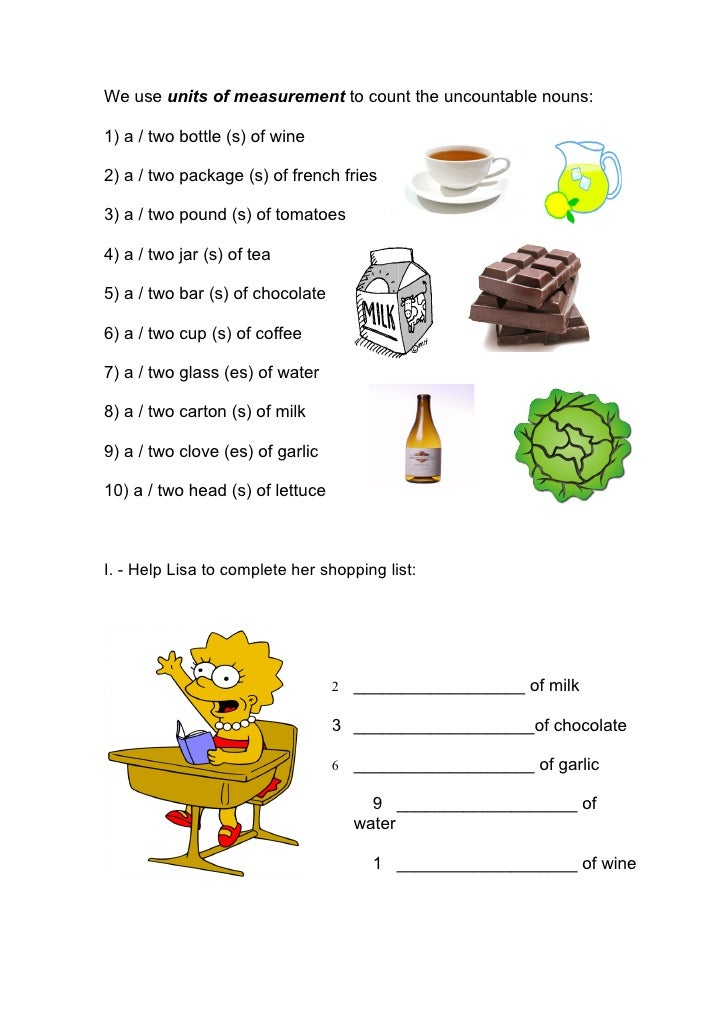 Countable and uncountable nouns exercise