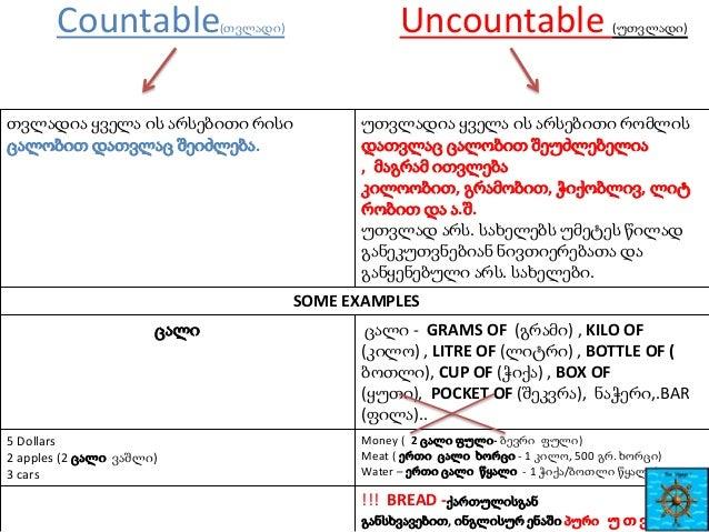Countable  Uncountable  (თვლადი)  თვლადია ყველა ის არსებითი რისი ცალობით დათვლაც შეიძლება.  (უთვლადი)  უთვლადია ყველა ის ა...