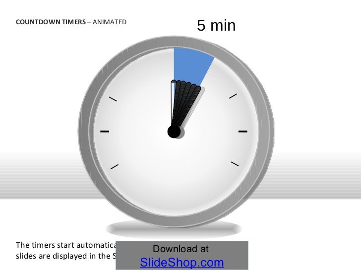 5 min countdown timers animated the timers start automatically when the slides are displayed in 10
