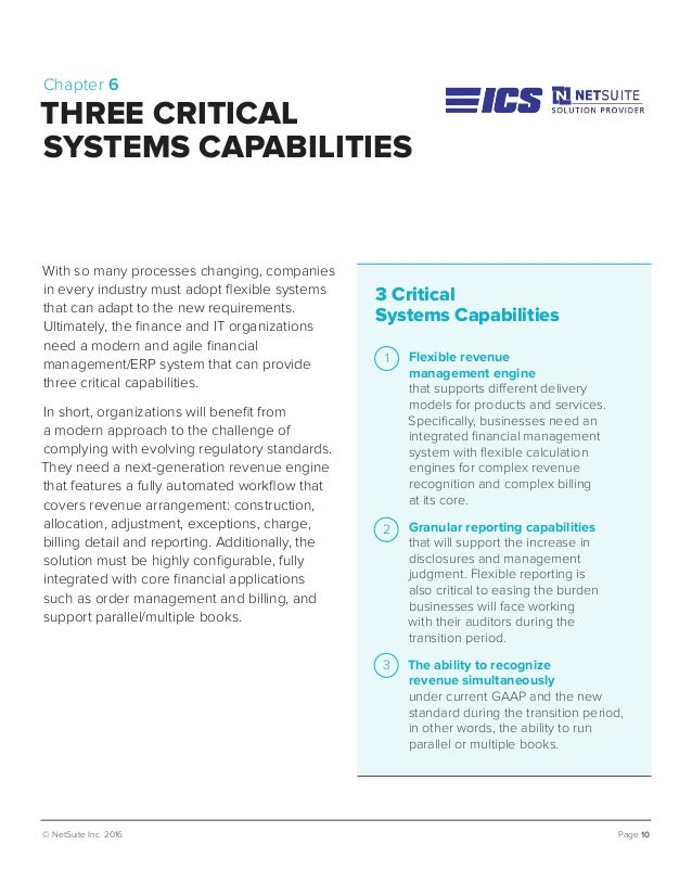 © NetSuite Inc. 2016 Page 10 Chapter 6 THREE CRITICAL SYSTEMS CAPABILITIES With so many processes changing, companies in e...