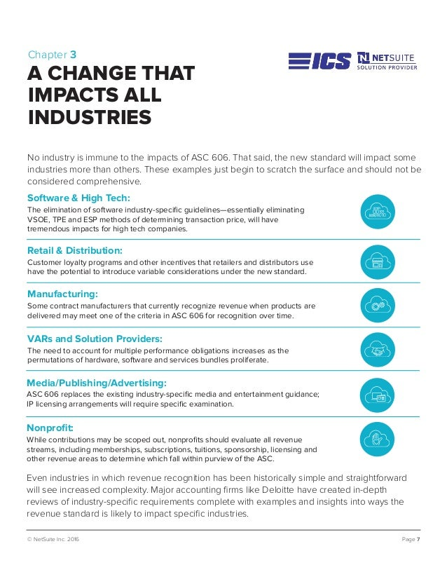 © NetSuite Inc. 2016 Page 7 No industry is immune to the impacts of ASC 606. That said, the new standard will impact some ...