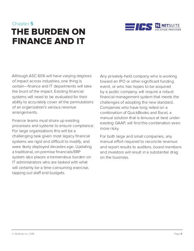 © NetSuite Inc. 2016 Page 9 Chapter 5 THE BURDEN ON FINANCE AND IT Although ASC 606 will have varying degrees of impact ac...
