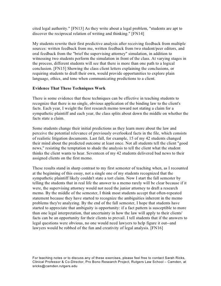 legal memo thesis paragraph