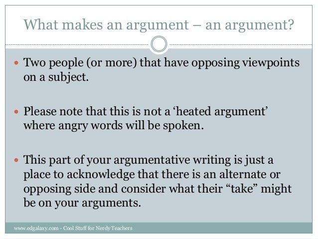 Teaching Counter arguments to students – Counter Argument Example