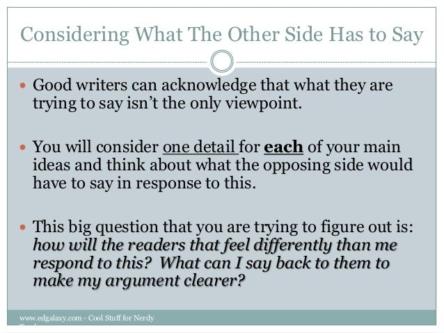how to write an opposing argument