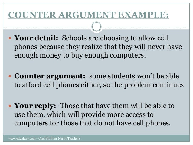 COUNTER ARGUMENT EXAMPLE: ...