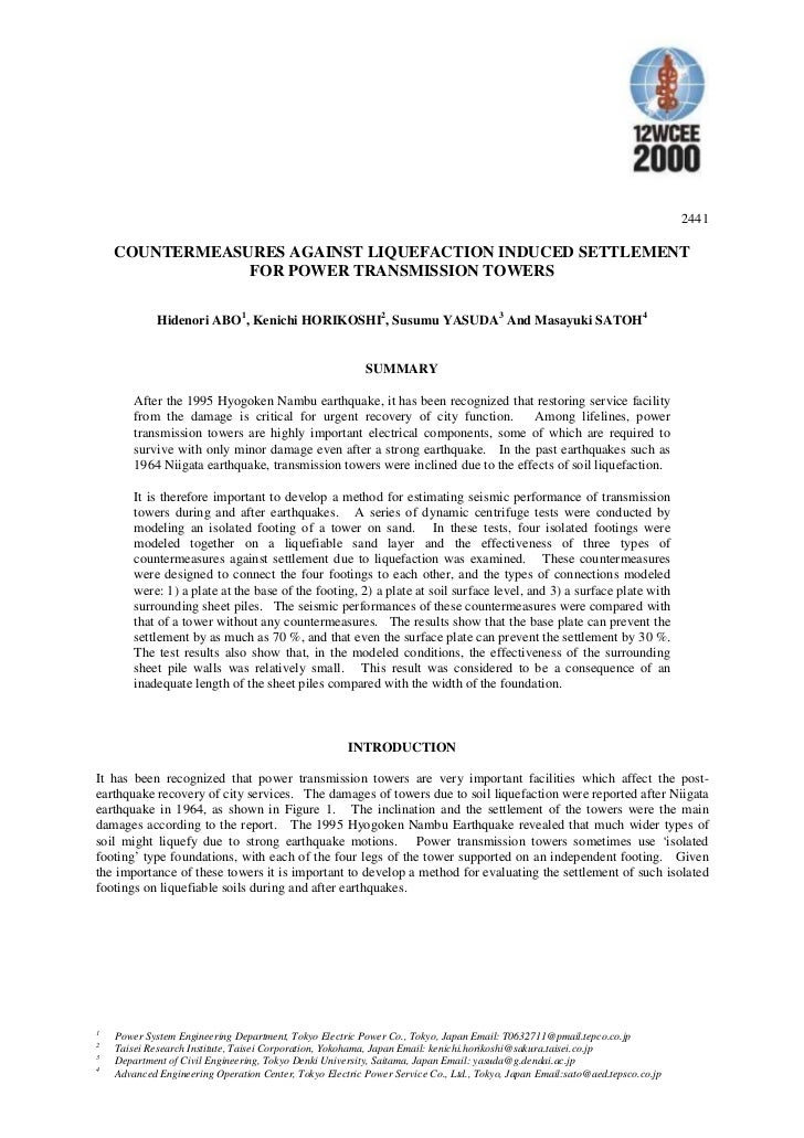 2441    COUNTERMEASURES AGAINST LIQUEFACTION INDUCED SETTLEMENT                FOR POWER TRANSMISSION TOWERS             H...