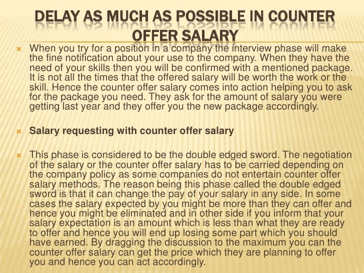 Counter offer salary