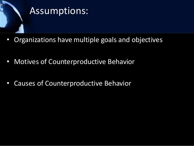 assessing productive behavior and counterproductive behavior Technical manual version 20 leonard d counterproductive behavior index personality questionnaires assessing a broad range of traits that are believed to.