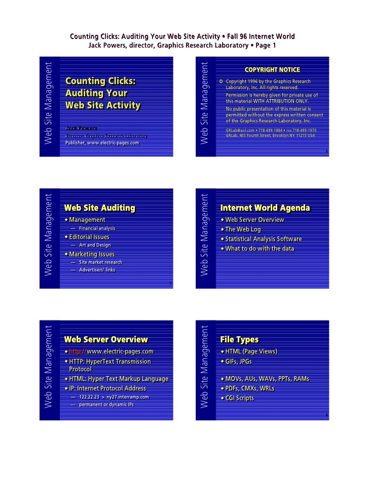 Counting Clicks: Auditing Your Web Site Activity • Fall 96 Internet World Web Site Management            Jack Powers, dire...