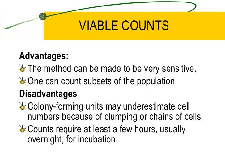 microbiology viable counts The equipment necessary for performing viable plate counts is readily available in any microbiology lab and is cheap in comparison to other methods finally, by using a selective medium it is possible to determine the number of bacteria of a certain class, even in mixed populations.