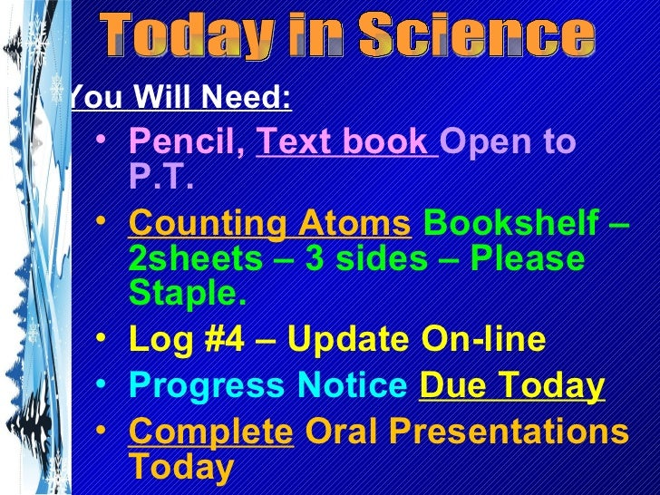 Today in Science <ul><li>You Will Need: </li></ul><ul><ul><li>Pencil,  Text book  Open to P.T. </li></ul></ul><ul><ul><li>...