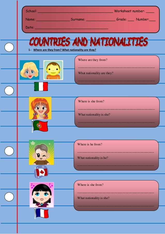 1- Where are they from? What nationality are they? School: ____________________________________ Worksheet number: ____ Nam...