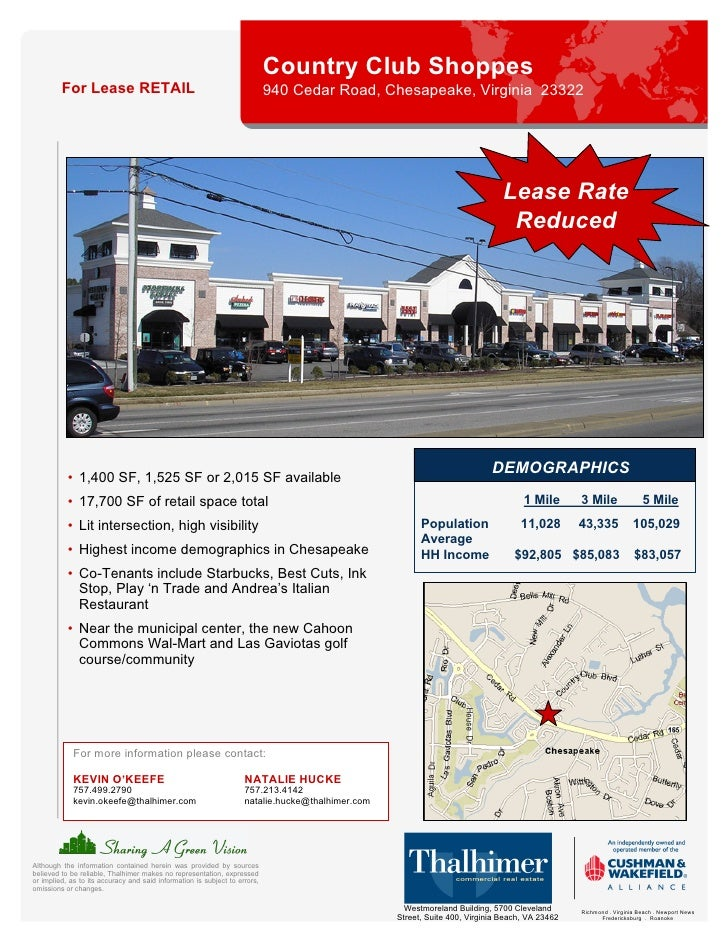 Country Club Shoppes          For Lease RETAIL                                                   940 Cedar Road, Chesapeak...
