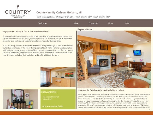 Country Inn By Carlson, Holland, MI 12260 James St, Holland, Michigan 49424, USA  Welcome  Enjoy Books and Breakfast at th...