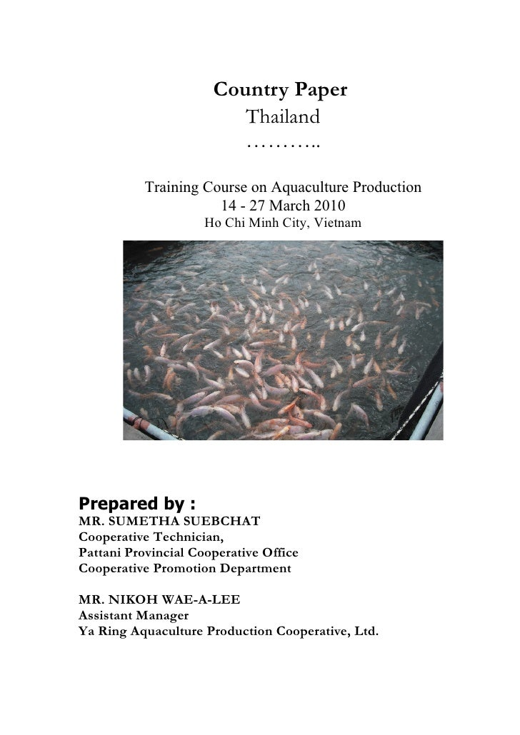 Country Paper                          Thailand                          ………..             Training Course on Aquaculture ...