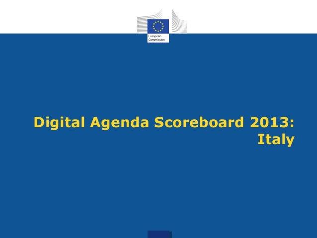 Digital Agenda Scoreboard 2013:Italy