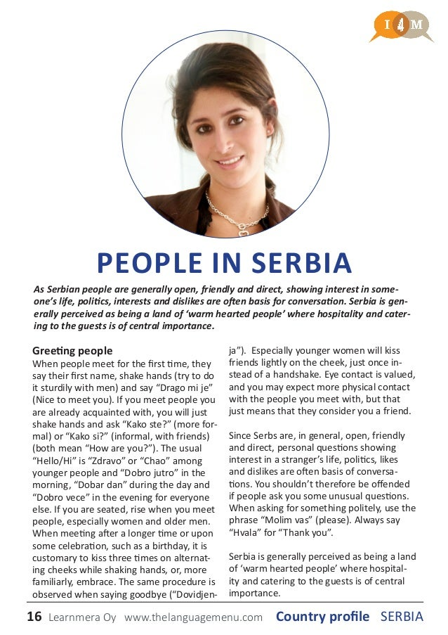 Country profile serbia 16 people in serbia greeting m4hsunfo