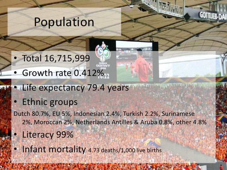 Population<br />Total 16,715,999<br />Growth rate 0.412%<br />Life expectancy 79.4 years<br />Ethnic groups <br />Dutch 80...