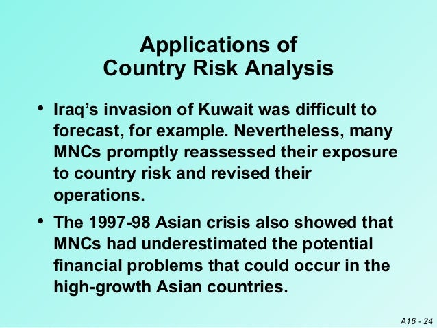 country risk analysis Country risk analysis is assessment of potential risks and rewards from doing business in country country risk represents potentially adverse.