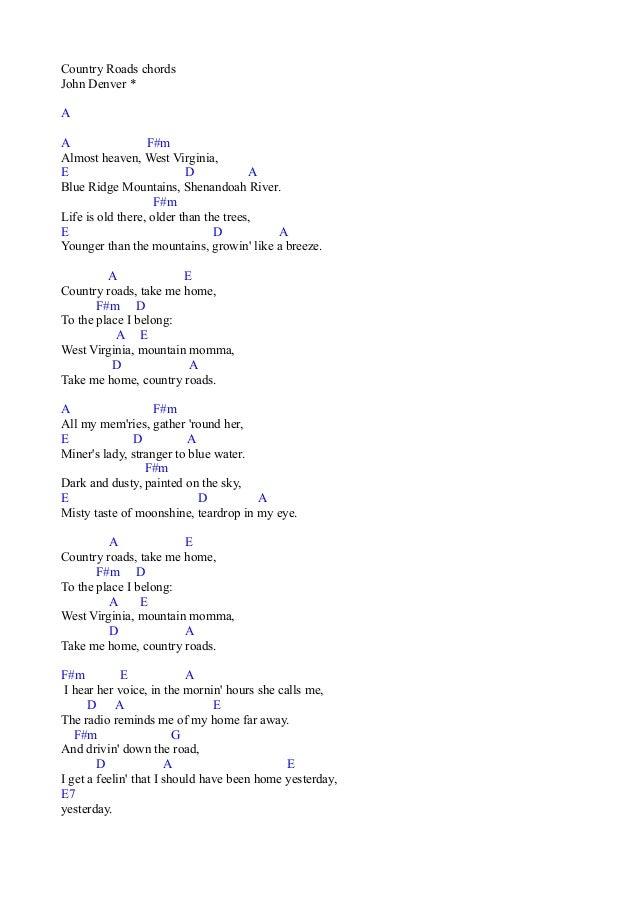 Country Roads chords John Denver * A A F#m Almost heaven, West Virginia, E D A Blue Ridge Mountains, Shenandoah River. F#m...