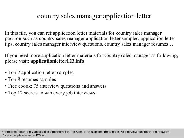Country sales manager application letter country sales manager application letter in this file you can ref application letter materials for application letter sample spiritdancerdesigns Images