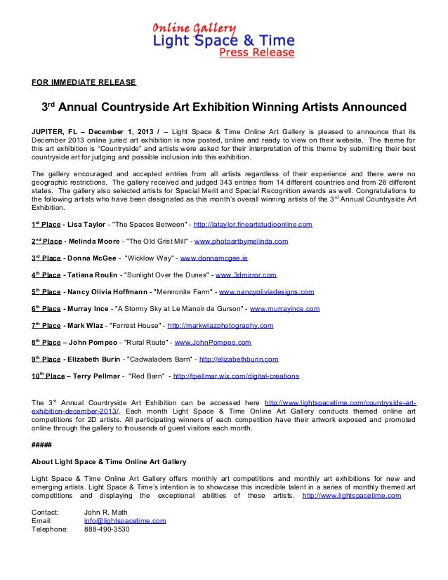 FOR IMMEDIATE RELEASE  3rd Annual Countryside Art Exhibition Winning Artists Announced JUPITER, FL – December 1, 2013 / --...