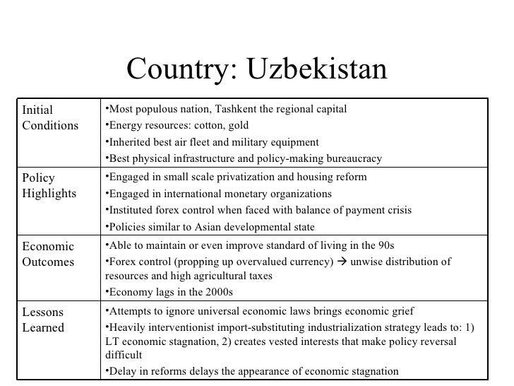 Country: Uzbekistan Initial Conditions <ul><li>Most populous nation, Tashkent the regional capital </li></ul><ul><li>Energ...