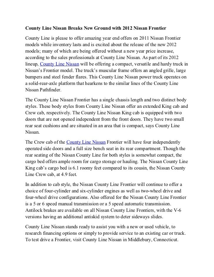 County Line Nissan Breaks New Ground With 2012 Nissan FrontierCounty Line  Is Please To Offer Amazing ...
