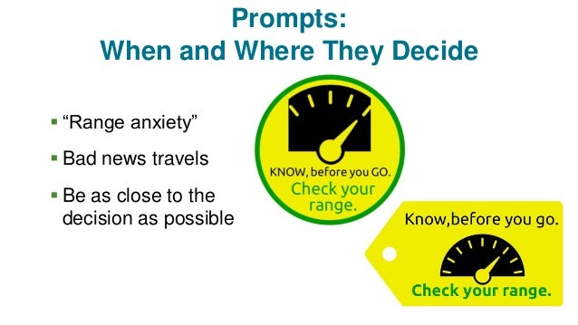 """Prompts: When and Where They Decide  """"Range anxiety""""  Bad news travels  Be as close to the decision as possible"""