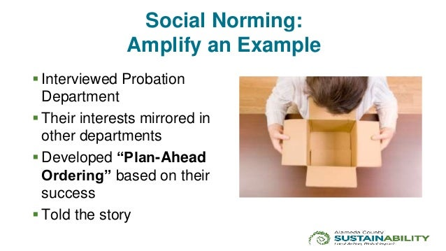 Social Norming: Amplify an Example  Interviewed Probation Department  Their interests mirrored in other departments  De...