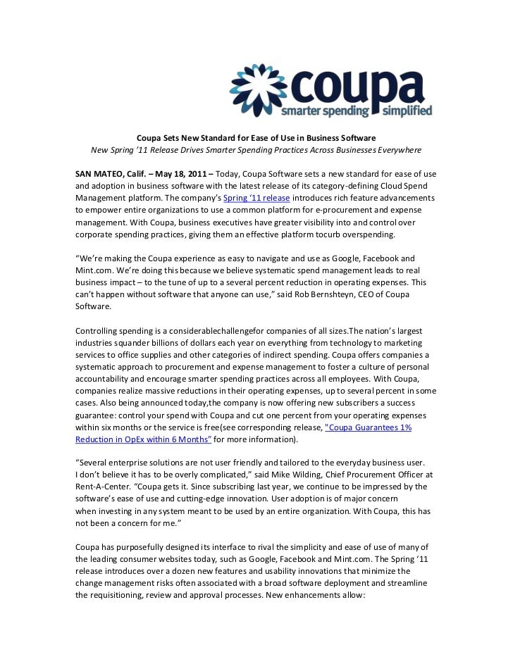 Coupa Sets New Standard for Ease of Use in Business Software<br />New Spring '11 Release Drives Smarter Spending Practices...
