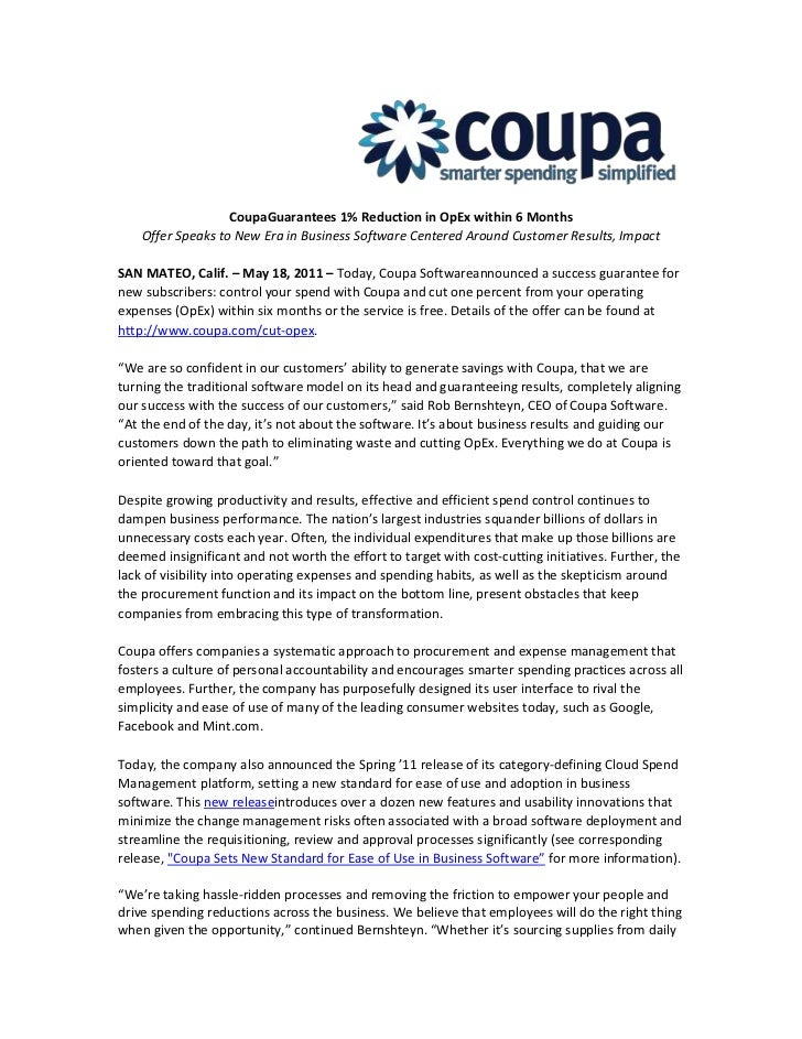 Coupa Guarantees 1% Reduction in OpEx within 6 Months <br />Offer Speaks to New Era in Business Software Centered Around C...