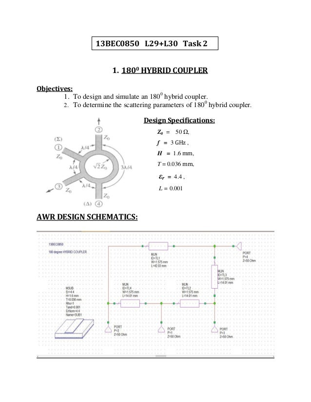 power divider design Coupler and power divider design in awr