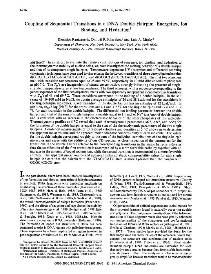 Coupling of-sequential-transitions-in-a-dna-double-hairpin-energetics,-ion-binding,-and-hydration 1991-biochemistry