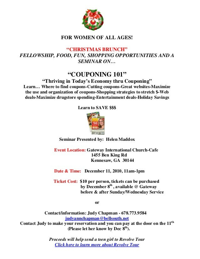 """FOR WOMEN OF ALL AGES! """"CHRISTMAS BRUNCH"""" FELLOWSHIP, FOOD, FUN, SHOPPING OPPORTUNITIES AND A SEMINAR ON… """"COUPONING 101"""" ..."""