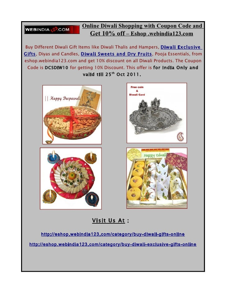 Get 10% Discount with Coupon Code for all Diwali Products from Eshop.webindia123.com
