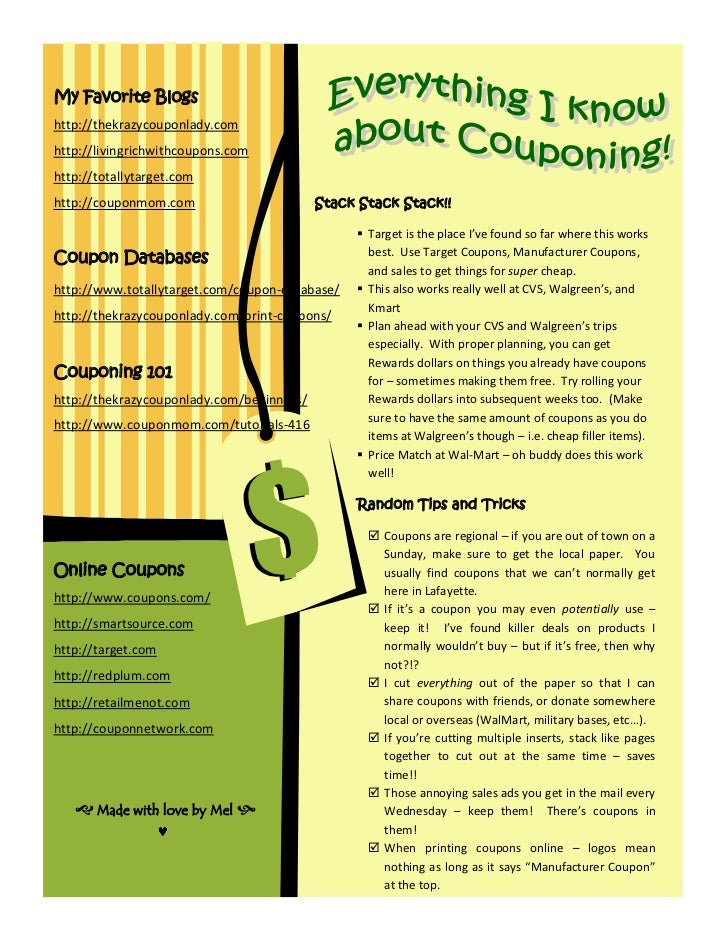 My Favorite Blogshttp://thekrazycouponlady.comhttp://livingrichwithcoupons.comhttp://totallytarget.comhttp://couponmom.com...