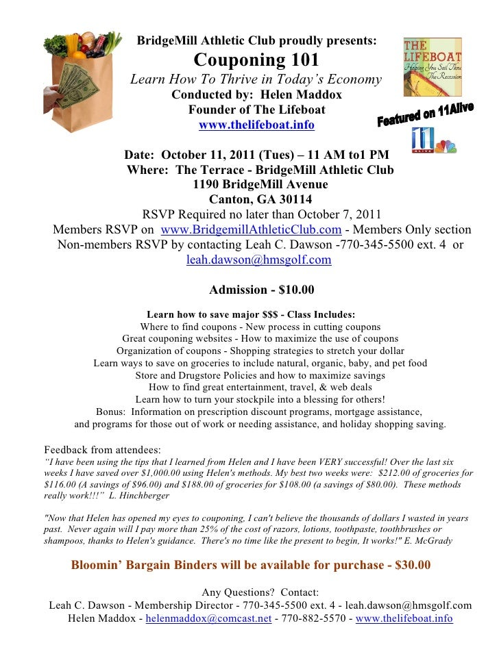 BridgeMill Athletic Club proudly presents:                                     Couponing 101                     Learn How...