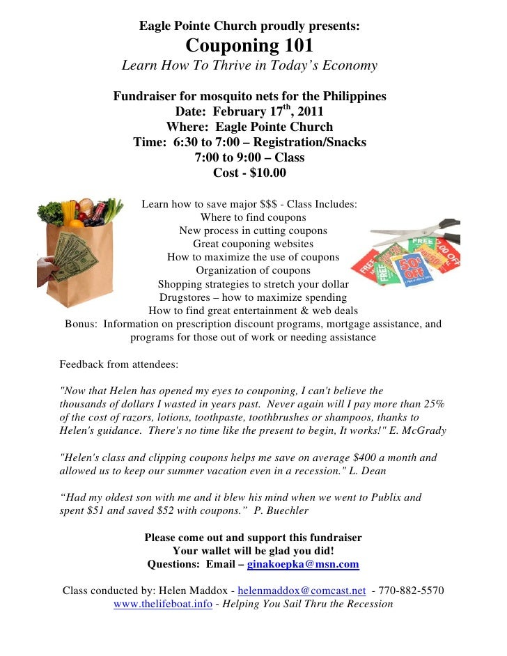 Eagle Pointe Church proudly presents:                           Couponing 101             Learn How To Thrive in Today's E...