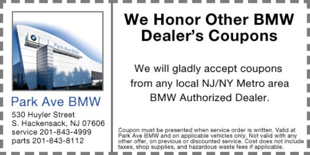Coupon Matched at Park Ave BMW in S  Hackensack NJ