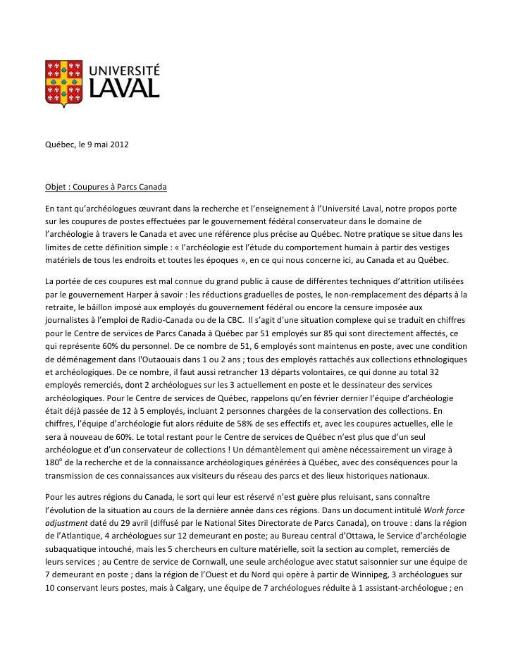 Québec, le 9 mai 2012Objet : Coupures à Parcs CanadaEn tant qu'archéologues œuvrant dans la recherche et l'enseignement à ...
