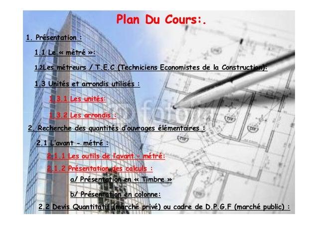 Cour i metre et dessin de batiment for Cours construction batiment pdf