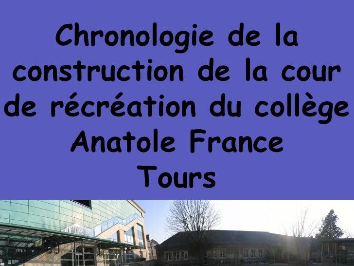 Chronologie de la construction de la cour de récréation du collège Anatole France Tours