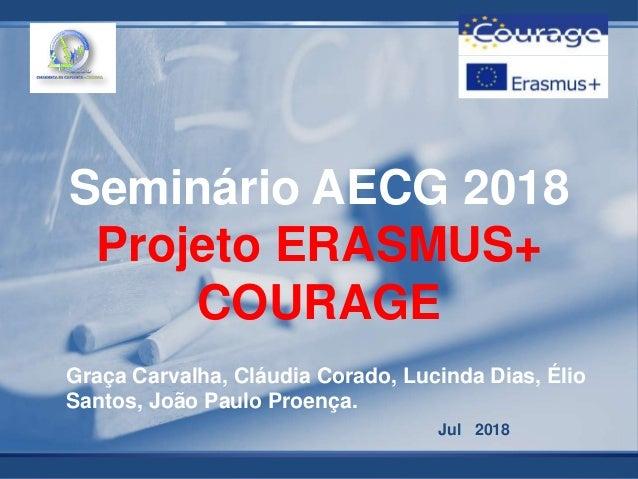 Jul 2018 Seminário AECG 2018 Projeto ERASMUS+ COURAGE Graça Carvalha, Cláudia Corado, Lucinda Dias, Élio Santos, João Paul...