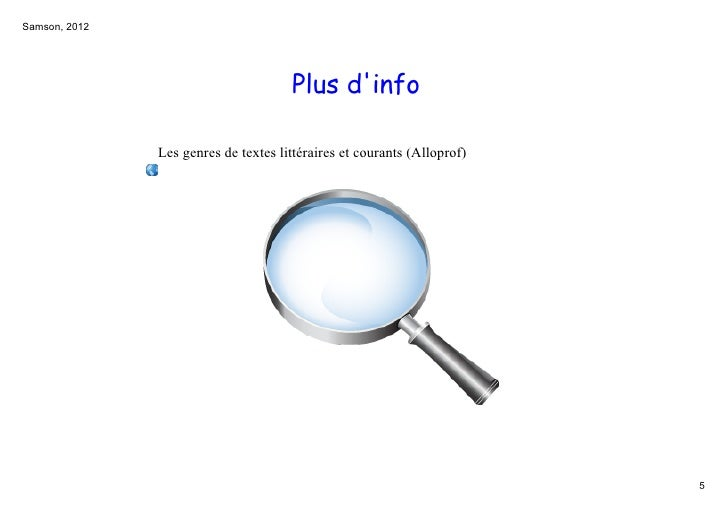 Samson,2012                                      Plus dinfo               Lesgenresdetexteslittérairesetcourants(A...