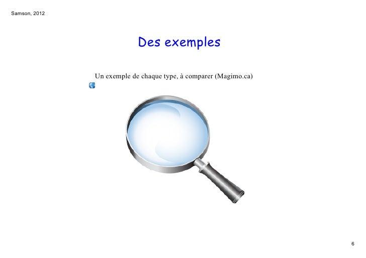 Samson,2012                            Des exemples               Unexempledechaquetype,àcomparer(Magimo.ca)      ...