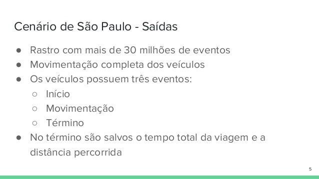 Cenário de São Paulo - Saídas ● Rastro com mais de 30 milhões de eventos ● Movimentação completa dos veículos ● Os veículo...