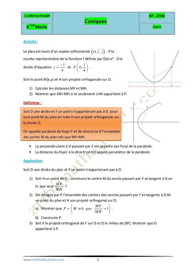 L.S.Marsa Elriadh Coniques M : Zribi 4 ème Maths Cours www.zribimaths.jimdo.com 1 Activité : Le plan est muni d'un repère ...